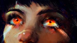 Yana Panda Women Eyes Digital Art Drawing Large Eyes Artwork Closeup Orange Eyes ArtStation 1920x1184 Wallpaper