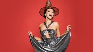 Women Halloween Red Happy Model Looking At Viewer Wizard Luxury Glamour 8002x5829 Wallpaper