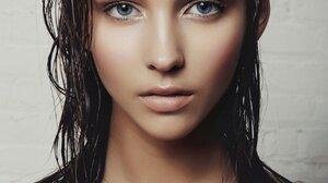 Women Model Blue Eyes Brunette Face Wet Hair 1280x1920 Wallpaper