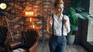 Blonde Cigar Depth Of Field Girl Model Mood Woman 2560x1709 Wallpaper