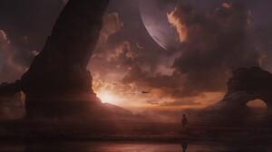 Sunset Planet 3471x1860 Wallpaper