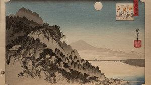 Utagawa Hiroshige Woodblock Print Japanese Art Traditional Artwork Lake Mountains Moon Rocks Trees 2400x1631 Wallpaper