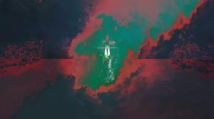 Rocket Minimalism Space Surreal Abstract Ocean View Reflection Cyberpunk Artwork DeviantArt Sky Clou 3440x1440 Wallpaper