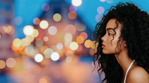 Face Women Model Makeup Profile Dark Hair Long Hair Lights Portrait Depth Of Field Black Women Brune 3376x2250 Wallpaper