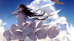 Anime Anime Girls Black Hair Long Hair Clouds Hat Ribbons Blue Eyes Sky Straw Hat Walking Looking At 1650x1250 wallpaper