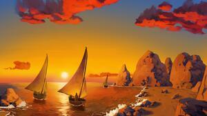 Artistic Sailboat 3000x2000 Wallpaper