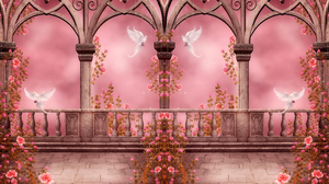Fantasy Pink Rose Pink Dove Arch Columns Gothic 6000x4000 wallpaper