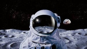 Space Moon Earth Astronaut Spacesuit NASA Digital Art 5500x3300 Wallpaper