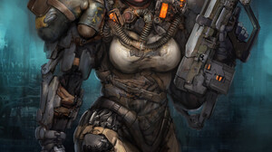Kory Cromie Science Fiction Science Fiction Women Women Armored Girls With Guns Weapon Artwork 989x1280 Wallpaper
