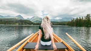 Girl Lake Boat Nature Rear 2560x1600 Wallpaper