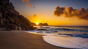 Coast England Rock Sea Sunrise 2048x1365 Wallpaper