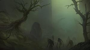 Creepy Fog Tree Undead 3328x1538 Wallpaper