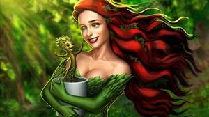 Baby Groot Comics Crossover Dancing Groot Guardians Of The Galaxy Poison Ivy Red Hair 5000x3125 Wallpaper