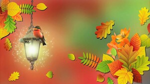 Artistic Bee Eater Bird Fall Foliage Lantern Leaf 1920x1200 Wallpaper