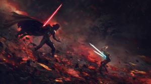 Star Wars Ahsoka Tano Darth Vader Anakin Skywalker Star Wars Darth Vader Artwork Ahsoka Tano Jedi 1920x1080 Wallpaper