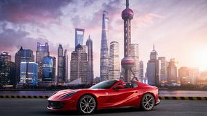 Car Ferrari Red Car Sport Car Supercar City Skyscraper 4500x3000 Wallpaper