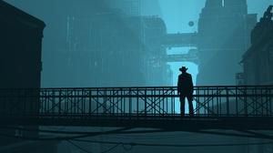 Cyberpunk 3D Render Men Blue Science Fiction Futuristic Building City Wire Lights 6000x3375 Wallpaper