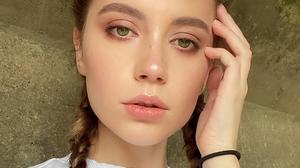 Ksenia Kokoreva Women Brunette Portrait Makeup Blush Braids Pigtails Wall Green Eyes 1080x1348 wallpaper