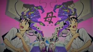 Ikari Shinji Vaporwave Dreamcast EVA Unit 01 Arizona Green Tea PlayStation Anime Boys Neon Genesis E 1920x1080 wallpaper