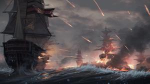 Anime Yurichtofen Ship Battle 2000x924 Wallpaper