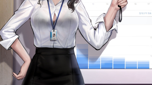 Office Girl Brunette Asian Original Characters Smiling Shirt Tights 2D Artwork Drawing Illustration  4866x6498 Wallpaper