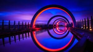 Scotland Falkirk Wheel Reflection Architecture Night UK 1366x768 wallpaper