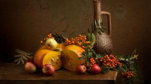 Berry Pitcher Pumpkin Still Life 1920x1280 Wallpaper