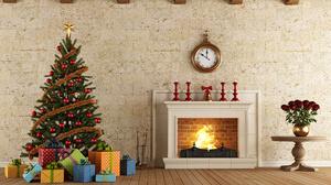 Chimney Christmas Tree Fireplace Gift 2560x1895 Wallpaper