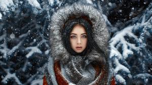 Woman Blue Eyes Black Hair Long Hair Coat Fur Snow Winter 2048x1152 Wallpaper
