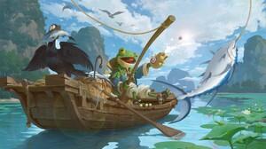 Yeonji Rhee Digital Art Fantasy Art Boat Paddle Frog Fishing Fish Birds Mountains Lily Pads Fishing  1920x1080 Wallpaper