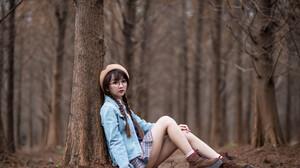 Asian Model Women Long Hair Dark Hair Sitting Depth Of Field Twintails Braids Berets Short Skirt Jea 3840x2563 Wallpaper