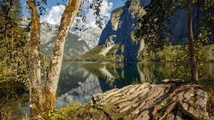 Germany Cloud Tree Mountain Lake Reflection 2048x1365 wallpaper