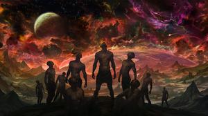 Space Cosmic Horror Group Of Men Noah Bradley 1920x1080 Wallpaper