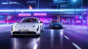Porsche Porsche Taycan Street Night City Lights Motion Blur Japan Blue Cars White Cars Overpass 3840x2160 Wallpaper