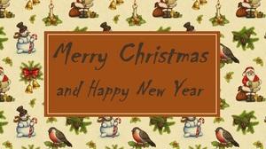 Merry Christmas Happy New Year Santa Snowman 1920x1080 Wallpaper