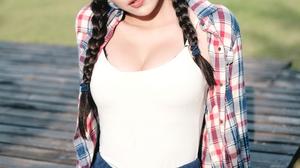Linnnng Women Model Asian Plaid Shirt White Tops Brunette Bangs Braids Braided Hair Looking At Viewe 2667x4000 Wallpaper