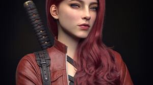 Zhipeng Ai CGi Women Redhead Looking Away Jacket Red Clothing Weapon Hands Crossed Simple Background 1920x1920 Wallpaper