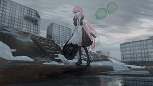 Anime Anime Girls Original Characters Balloon Pink Hair Long Hair Chihuri 45 4000x2000 Wallpaper