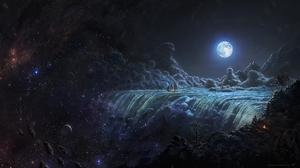 Artwork Fantasy Art Moon Sea Waterfall Space Stars 1920x1080 Wallpaper