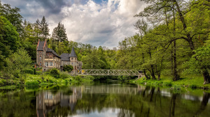 Nature Landscape Trees Lake Bridge Mansion Reflection Forest Clouds Saxony Germany 1920x1080 Wallpaper