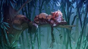 Fantasy Girl Digital Art Forest Cat Ears Redhead Bamboo Cat Tail Butterflies Closed Eyes Short Hair 2000x1200 Wallpaper