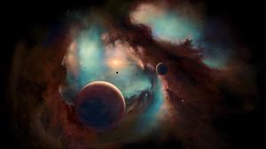 Stars Nebula Planet Universe Moon Space Smoke Horizon Galaxy Andromeda Helix Nebula Milky Way 3839x2160 Wallpaper