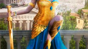 Evgeny Dvoretckiy Artwork Women Fantasy Art Fantasy Girl Girls With Swords Sword Blue Eyes 1920x2688 Wallpaper