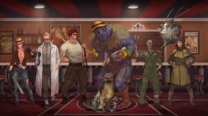 Arcade Gannon Craig Boone Ed E Fallout Fallout Fallout New Vegas Lily Bowen Raul Tejada Rex Fallout  4642x2051 wallpaper