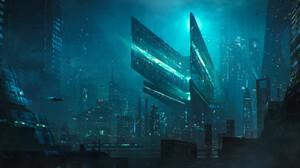 Futuristic City Skyscraper Cityscape 3000x1286 Wallpaper