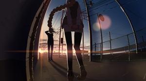Anime Anime Girls Anime Boys Fisheye Lens Yellow Hair Long Hair Sunset School Uniform City Gift 3508x2480 Wallpaper