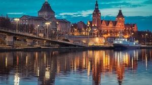 Szczecin City Poland Polish River Castle 1375x900 Wallpaper