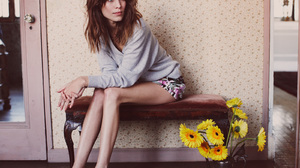 Alexa Chung Women Model Blue Eyes Brunette Long Hair Skinny Legs Heels Flowers Indoors 1600x1146 Wallpaper