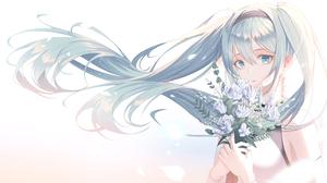 Blue Eyes Blue Hair Girl Hatsune Miku Long Hair Vocaloid 2048x1162 wallpaper