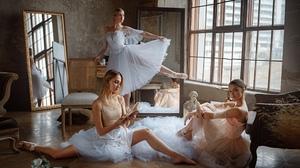 Women Women Indoors Women Trio Indoors Ballerina Legs Standing Sitting Looking At Viewer Mirror Room 2000x1125 Wallpaper